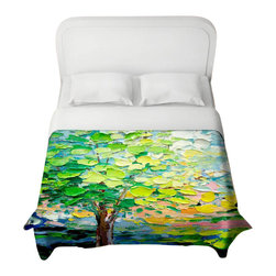 DiaNoche Designs - Stories from A Field Act xxvii Duvet Cover - Lightweight and super soft brushed twill duvet cover sizes twin, queen, king. Cotton poly blend. Ties in each corner to secure insert. Blanket insert or comforter slides comfortably into Duvet cover with zipper closure to hold blanket inside. Blanket not Included. Dye Sublimation printing adheres the ink to the material for long life and durability. Printed top, khaki colored bottom. Machine washable. Product may vary slightly from image.