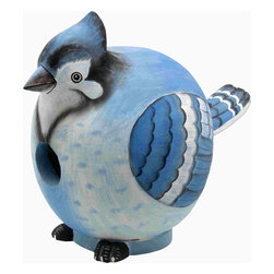 Songbird Essentials - Blue Jay Gord-O Birdhouse - Songbird Essentials adds color and whimsy to any garden with our beautifully detailed wooden birdhouses that come ready to hang under the canopy of your trees. Hand-carved from albesia wood, a renewable resource, each birdhouse is hand painted with non-toxic paints and coated with polyurethane to protect them from the elements. By using all natural and nontoxic components Songbird Essentials has created a safe environment complete with clean-out for our feathered friends.
