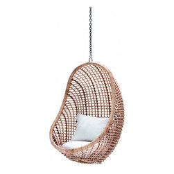 Kai Pod Chair, Natural - This hanging egg chair looks like the perfect place to curl up with a good book or a nap.