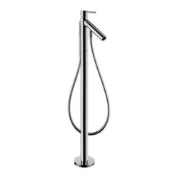 Hansgrohe - Hansgrohe-10456001 Axor Starck Freestanding Tub Filler in Chrome - Hansgrohe-10456001 Axor Starck Freestanding Tub Filler in ChromeLouder and louder. More and more color. Ever faster. No wonder there is a longing in our hectic times for tranquility and simplicity and for ideas that allow us to draw new strength, like Axor Starck. This collection of bathroom fittings is impactful with its slender form, clear functionality and world-renowned design. The collection is modern because it is uncompromisingly minimalistic; there are no disruptive elements, no unnecessary decoration.Hansgrohe-10456001 Axor Starck Freestanding Tub Filler in Chrome, Features:• 6-1/8-Inch spout reach• Includes handshower with full spray and 50-Inch Techniflex hose; Features a boltic handle lock and M2 ceramic cartridge• Diverter for handshower in spout tip• Mounts on floor beside tub• Requires rough-in valve # 10452181; Certain areas require this unit to be pressure balanced by using the In Line Pressure Balance Valve # 13418181 with the rough-in valveRequires: Hansgrohe-10452181 Rough Valve Hansgrohe-10456001 Specification Sheet Hansgrohe Installation Instructions Hansgrohe Limited WarrantyManufacturer: HansgroheModel Number: 10456001Manufacturer Part Number: Hansgrohe 10456001Collection: Axor StarckFinish Code: Finish: ChromeUPC: 011097480985This product is also listed under the following Manufacturer Numbers and Finish Codes:Hansgrohe 10456001        HG10456001        10456001Product Category: Bathroom FaucetsProduct Type: Freestanding Tub Faucet