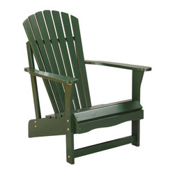 International Concepts - Wood Adirondack Chair - Since the Adirondack chair was first introduced in 1903, green has been a favored color.  Solid pine construction, a durable finish and a great price make this a popular choice.  It will be a refreshing update for any outdoor setting. * Reclined seat and wide armrests. Made of solid wood. Polyurethane finish. Minimal assembly required. 28.25 in. W x 34 in. D x 37.5 in. H (21.8 lbs.). Seat height: 13.7 in.. Arm height: 22.9 in.