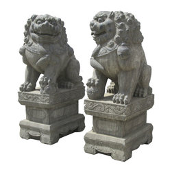 """Golden Lotus - Huge Pair Chinese Antique Hand Carving FenShui Foo Dog Statue w/Base - This is a beautiful pair of stone foo dog. The male foo dog has an embroidered ball under its paw and the female has a baby foo dog. Its carving is very detail, even their paws, bodies, and face.  There also have very beautiful carving detail on the base.  You can put this pair of foo dog at the front of your house or garden.  In Chinese culture, the """"Fen Shui"""" foo dog can protect the people who are living the house."""