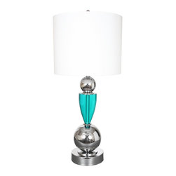 "Van Teal - Van Teal Every Week Turquoise And Chrome Table Lamp - The Every Week table lamp is a contemporary enthusiast's delight! A turquoise hued cone shape accent sits between two chrome finish spheres and a cylindrical pedestal base mirrors the drum shade up top. White linen wraps the shade for a crisp elegant look. Turquoise and chrome finishes. Contemporary design. Hard back linen shade. Takes two 60-watt medium-base bulbs (not included). 35"" high. Shade is 16"" round 13"" high.  Turquoise and chrome finishes.   Contemporary design.   Hard back linen shade.   Takes two 60-watt medium-base bulbs (not included).   35"" high.   Shade is 16"" round 13"" high."