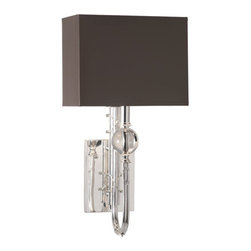 Robert Abbey - Robert Abbey Mary McDonald Ondine Large Wall Sconce 2519T - Rectangular Taupe Painted Opaque Parchment Shade with Matte Silver Lining