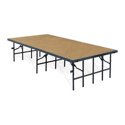 National Public Seating - Portable Stage w Hardboard (96 in. W x 36 in. - Choose Size: 96 in. W x 36 in. D x 8 in. HProducts meet or exceed applicable ANSI/BIFMA standards. 16-gauge high formed steel channel frame. Legs open and close using only one hand. Stages equipped with drop-in couplings that allow units of same or different heights to be joined together. Built-in ganging braces to easily connect multiple stages. Exceeds 200 lbs. per square foot load bearing capacity. Warranty: 10 years. Made from 0.75 in. solid plywood core and steel. 96 in. W x 36 in. D x 8 in. H. 96 in. W x 36 in. D x 16 in. H. 96 in. W x 36 in. D x 24 in. H. 96 in. W x 36 in. D x 32 in. H. 96 in. W x 48 in. D x 8 in. H. 96 in. W x 48 in. D x 16 in. H. 96 in. W x 48 in. D x 24 in. H. 96 in. W x 48 in. D x 32 in. H14-gauge steel tubing capped at the point of floor contact with high impact plastic glide.