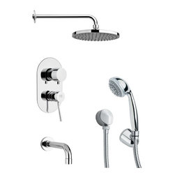 Remer - Sleek Chrome Tub and Shower Faucet with Handheld Shower - Multi function tub and shower faucet.