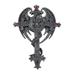Zeckos - Sauraton Celtic Cross Dragon Wall Plaque Gothic - This beautiful cold cast resin wall hanging features a Celtic knotwork accented cross with an evil looking dragon wrapped around it. The cross measures 14 1/2 inches tall, 10 1/2 inches wide and 2 inches deep. It makes a great gift for anyone with a taste for the macabre.