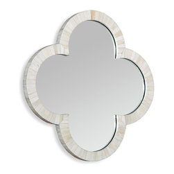 Kathy Kuo Home - Cala Small Quatrefoil Global Coastal Cream Wall Mirror - With the classic clover shape and a beautifully inlaid bone frame, this small cream colored wall mounted mirror delivers a classic statement of light and a perfect example of how handcrafted pieces always shine.