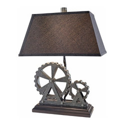 Lighting Trends for 2014 - Here's a table lamp that would work well in a contemporary space that embraces current industrial trends. The shade and the base have the clean lines of transitional design but with a unique flair: the gears on the base.