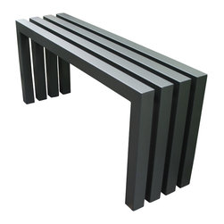 "Sarabi Studio - Linear Bench Gunmetal Grey, 40"" Length - The Gunmetal Grey Linear Bench is welded together from durable thick-wall steel tubing and then finished with an industrial powder coating for durability & outdoor protection."