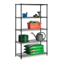 5-Tier Black Storage Shelves 800 Lbs, Black, 800 Lbs - Honey-Can-Do SHF-01440 Industrial 5-Tier Adjustable Storage Shelving Unit, Black. Create visible, accessible storage space instantly with Honey-Can-Do industrial shelving systems. Durable enough for the garage, workshop, or commercial business; this unit is capable of withstanding an amazing 800 lbs. per shelf of evenly distributed weight. The industrial quality black powder coat steel is sturdy and rust-resistant making this unit a practical choice for nearly any environment. Adjustable shelves allow you to change the configuration as your storage needs evolve. Combine multiple units to create a customized storage wall. The no-tool assembly allows you to construct in minutes a shelving unit that will last for years.