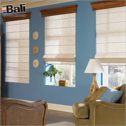 Bali Casual Classics Roman Shade from Blinds.com - Roman shades give you the look of costly custom workroom shades at a price that will pleasantly surprise you! These tailored window shades are made of the same fabrics as fine draperies, but their superior headrail and control systems make them much easier to install and operate. Bali Casual Classic Roman Shades offer the softness of a drapery with the practicality of a shade.