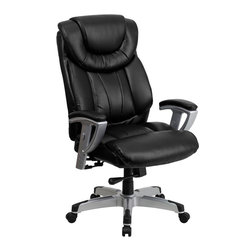 Flash Furniture - Flash Furniture Hercules Series 400 lb. Capacity Big & Tall Black Office Chair - Get the comfort needed to perform all any task in this stylish and plush padded Big and Tall Office chair by Flash Furniture. This executive chair comfortably fits users up to 400 lbs. chair features height and width adjustable arms, built-in lumbar support and a spring tilt mechanism. [GO-1534-BK-LEA-GG]