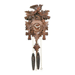RIVER CITY CLOCKS - One Day Hand-Carved Cuckoo Clock with Five Maple Leaves & One Bird - 9 Inches Ta - This traditionally styled German cuckoo clock features wooden hands, a wood dial with Roman numerals, and a warm light yellow hand-painted and hand-carved cuckoo bird. The cuckoo clock case is surrounded by five deeply carved maple leaves with a single hand-carved bird seated at the peak of the roof. Two cast iron pine cone weights are suspended beneath the clock case by two separate brass chains.     The hand-carved maple leaf pendulum continously swings back and forth which controls the timing of the clock. If your cuckoo clock's timing should ever need adjustment, you can control the speed of your clock by sliding the maple leaf up or down the pendulum stick. Sliding the maple leaf down causes the cuckoo clock to run slightly slower, while sliding the maple leaf up makes the cuckoo clock run slightly faster.     On every hour the cuckoo bird emerges from a swinging door above the clock dial and counts the hour by cuckooing once per hour. (Example: At one o'clock the bird will cuckoo once. At eight o'clock the bird will cuckoo eight times) The half hour is announced with one cuckoo call. The cuckoo sound cannot be turned off.    The 30 hour all brass mechanical Regula movement, which is produced in the Black Forest of Germany, is wound once per day by raising the two pine cone weights. One weight powers the time and the other weight powers the cuckoo and cuckoo call.     *Great effort has been made to portray each cuckoo clock as accurately as possible. As with many handmade items, the exact coloration and carving may vary slightly from clock to clock. We consider this to be a special part of their character.   This clock is covered by a two year limited warranty covering workmanship and manufacturers defects.
