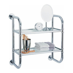 """Organize It All Inc. - Two Tier Bath Shelf - This substantial but slim bath shelf is great for extra storage when you dont have room for extra storage.  At only 9"""" deep its an easy fit no matter your bathrooms size.  Chrome finish and glass shelves. Dimensions: 18""""W x 9""""D x 19.25""""H"""