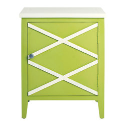 Safavieh - Bernardo Side Cabinet - In a range of soft colors, shown here in lime green finished poplar, the Bernardo side cabinet has a casual, go-anywhere style. Perfect next to the sofa, in the bedroom or bath, this white-topped piece, features two contrasting x-details on door front.