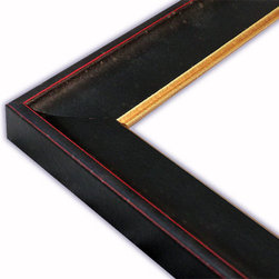 The Frame Guys - Textured Black with Gold Lip Picture Frame-Solid Wood, 6x6 - *Textured Black with Gold Lip Picture Frame-Solid Wood, 6x6