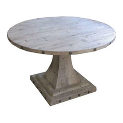 "Europe 2 You - Round Dining Table by Europe 2 You - This is a perfect table for many spaces. Choose from a blond, gray or saddle finish. Three sizes available to customize to your kitchen or dining room. Each solid wood table is accented with antiqued nail heads around the top and base. The pedestal base leaves plenty of leg room. (ETY) 60"" diameter x 29.5"" high"