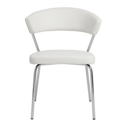 Euro Style - Draco Side Chair (Set Of 4) - White/Chrome - All the comfort, and value, of leatherette over foam with back pleasing curved support. Its lack of sharp corners and angular shapes makes it graceful and inviting.