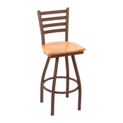"""Holland - Holland 30 in. Cambridge Ladderback Bar Stool - Bronze Finish - Wood Seat - CAM3 - Shop for Stools from Hayneedle.com! If chairs could talk the Holland 30 in. Cambridge Ladderback Bar Stool - Bronze Finish - Wood Seat would say stay awhile."""" Great for casual breakfasts or relaxing after dinner drinks this chair keeps guests comfortable from morning to night. It's crafted with 1.25-inch thick hardwoods for a durable seat and its metal frame is solidly welded for extra support. An modern way to invite a gathering without saying a word. Please note: Warranty applies to residential use only. About Holland Bar StoolsWith over 25 years of experience in the commercial furniture industry Cambridge Stool Co. was founded on the principles of fine quality craftsmanship and service. As an industry leading manufacturer of upscale commercial quality barstools tables and chairs we use the finest high quality plating grade steel to produce this 30"""" (bar height) swivel stool to insure a high quality and long lasting finish. Seats are covered in a durable leather-like vinyl. This stool comes with a 5 year residential warranty that covers any defects in workmanship or materials. There is a Lifetime Warranty on the swivel. Stool Rated for up to 400 lbs. For cleaning use a damp cloth or Formula 409 cleaner. Do not use abrasive cleaners or strong solvents. Made in the USA."""