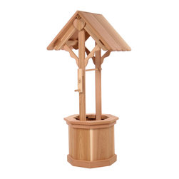 All Things Cedar - Cedar Wishing Well 45 - A convenient solution to cover unsightly water pipes or unattractive areas in your yard. Wishing Well comes with a fully functional crank and handle with plenty of tub space for your bedding plants and hanging baskets. Item is made to order.