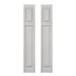 Builders Edge - Cottage Style Raised Panel Shutters in Painta - Choose Size: 12 in. W x 1 in. D x 67 in. H (9.4 lbs.)Color matching Shutter-LOK fasteners included. Constructed with color molded-through vinyl so they will not scratch, flake, or fade. Durable, maintenance-free U.V. stabilized, deep wood grain texture. Made in the USA. Perfect for painting shutters to match other areas of your home, and they won't warp or split like wood shutters. Warranty on painted finish not available with paintable option