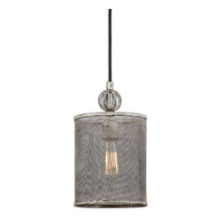 Uttermost - Pontoise Mini Pendant - This vintage style pendant features a hand-crafted screen with intentional indentations and uneven texture, so no two are exactly alike. The metal finish is distressed antiqued ivory with dark espresso undertones. 60 watt antique style bulb is included.