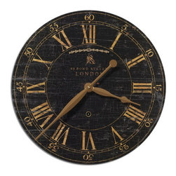 "Uttermost - Uttermost 06029  Bond Street 18"" Black Wall Clock - Laminated clock face with a weathered, crackled look. requires 1-aa battery."