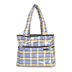 """Trend Lab - Diaper Bag - Rockstar Tulip Tote - Hit the road equipped and in style with this Rockstar Tote Bag by Trend Lab. Laminated bag features a brown, blue, orange & tan plaid print throughout the outside body with a matching guitar print inside. Outside of bag has two side bottle pockets, a front zippered pocket and a wide Velcro closure pocket on the back. Inside, four pockets and large mesh divider keep all your travel necessities organized. Snap closure keeps inside contents secure. Removable, coordinating changing pad included. Bag measures 14"""" x 12"""" x 6"""" with 22"""" straps."""