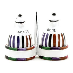 Artistica - Hand Made in Italy - Circo: Oil and Vinegar Cruet Set with Caddy. - The Circo-Bello collection is an exclusive product from Deruta of Italy designed by Bill Goldsmith.