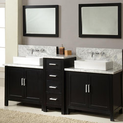 None - Horizon 84-inch Ebony and Marble Double Vanity Sink Console - Double white porcelain rectangular vessel sinks blend into the contrasting Carrera white marble countertop specifically selected for this double vanity. The ebony finish is designed in clean, crisp lines with insets in the doors.