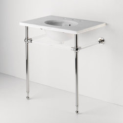 Crystal Metal Round Two Leg Single Washstand - Light and neutral, the crystal and metallic combination of this washstand make it a classic choice for any bathroom or powder room.