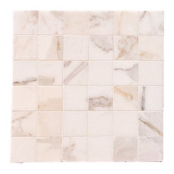 "Quintessa - Honed Calacatta Mosaic Marlbe - Calacatta Marble with 2""x2"" tiles are mounted on 12x12"" sturdy mesh tile sheet with white grout with 6 rows and 6 colons making 36 stones on each sheet. Quantity includes one 12x12"" tile. Shipping is per order."