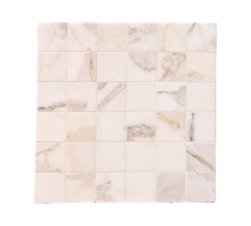 """Quintessa - Honed Calacatta Mosaic Marlbe - Calacatta Marble with 2""""x2"""" tiles are mounted on 12x12"""" sturdy mesh tile sheet with white grout with 6 rows and 6 colons making 36 stones on each sheet. Quantity includes one 12x12"""" tile. Shipping is per order."""