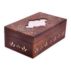 SouvNear - SouvNear Wooden Rectangular Tissue Box Cover With Decorative Brass Inlay Work - * The tissue box cover fits a High Count Kleenex Family-Size Facial Tissue box of 210 tissues perfectly.