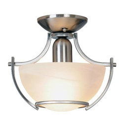 AF LIGHTING - Durango Lighting Collection, Semi-Flush Mount, Brushed Nickel - Brighten any room with the stylish design and striking curves of this semi-flush mount ceiling fixture. It features a beautiful brushed nickel finish and an alabaster glass globe.