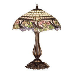 """Meyda Tiffany - 19""""H Handel Grapevine Table Lamp - Swirling vines of translucent Plum-Multi rippled glass surround Jade Green leaves, Pink Blush blossoms and Amethyst Ice grape clusters that form an irregular edge on this banded Ivory stained glass shade. Handel & Company was one of the few contemporaries of the LC Tiffany Company that employed the same copper foil and glass technique. Our reproduction table lamp is hand finished in Mahogany Bronze"""