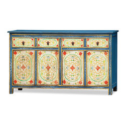 "China Furniture and Arts - Hand-Painted Elmwood Tibetan Cabinet - Decorated with exuberant colors, the exotic Tibetan art of furniture making is manifested in this sideboard containing four drawers on top and four doors below. The entire cabinet is hand painted in a rich blue hue with a floral motif. The interior of each drawer measures 12""W x 10.75""D x 3.25""H, and each lower interior compartment measures 28""W x 10.75""D x 21""H. This Elmwood sideboard is perfect for the  foyer, living room, and media room. It is a one-of-a-kind item and will last for generations to admire."