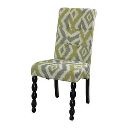 Powell - Powell Corbett Parsons Dining Chair - Green & Gray - Set of 2 - PO3014 - Shop for Dining Chairs from Hayneedle.com! The Powell Corbett Parsons Dining Chair - Green & Gray - Set of 2 lends an eye-catching look to your kitchen or dining room with its refreshing green and gray ikat upholstered seat. The sturdy wooden frame features a shiny black finish for an elegant contrast. Turned front legs add a unique contemporary edge. More About Powell FurnitureBased in Culver City Calif. the Powell company designs imports and distributes occasional dining accent and youth furniture across all style categories. Since 1968 Powell has grown to become one of the most recognized names in the home furniture industry. From sturdy safe childrens furniture to elegant bedroom and other home collections Powell continues to develop new and exciting designs for homes around the globe.