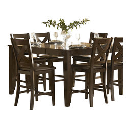Homelegance - Homelegance Crown Point 6-Piece Counter Height Dining Room Set - Adorn your dining area with Crown Point collection . This grand scale casual dining in warm merlot finish is as strong and durable as they are stunning. table top is constructed of mango veneer with strong support tapered legs.