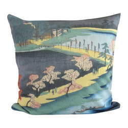 Poetic Pillow - Hiroshige Asuma Pillow - Transform any space with a pillow from Poetic Pillow. Each pillow is inspired by fine works of art and printed on the front and back.   Covers are made of pre-shrunk satin-like polyester fabric. All seams are finished to prevent fraying and pillow covers have a knife edge finish.. A concealed zipper allows for ease of inputting pillow inserts.  A duck feather insert is included for soft yet supportive feel.  Cushion inserts are encased in a cotton cover and filled with 100% duck feather.  All research, design and packaging is completed in Oakland, California.