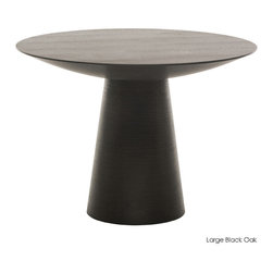 Nuevo Living - Dania Dining Table, Black Oak - Horizontal ribbing around the base gives this midcentury-style pedestal table a subtle exotic twist. In that dark wood stain, it will look great with global influences and help tie together your eclectic modern decor. The round pedestal style is highly versatile, and the table is available in three sizes, so you can use it as a side table, little pub table or dining table.