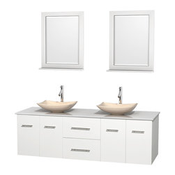 "Wyndham Collection - Centra 72"" White Double Vanity, White Man-Made Stone Top, Ivory Marble Sinks - Simplicity and elegance combine in the perfect lines of the Centra vanity by the Wyndham Collection. If cutting-edge contemporary design is your style then the Centra vanity is for you - modern, chic and built to last a lifetime. Available with green glass, pure white man-made stone, ivory marble or white carrera marble counters, with stunning vessel or undermount sink(s) and matching mirror(s). Featuring soft close door hinges, drawer glides, and meticulously finished with brushed chrome hardware. The attention to detail on this beautiful vanity is second to none."