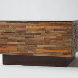 Four Hands - Unique Re-Cycle Landon Coffee Table - This solid wood furniture is contrived to form a unique accessory for furnishing your living room or any other space. This unique Re-cycle Landon Coffee Table is given a bricked pattern that conveys an illusion of a built over wooden foundation. The top of the table is polished to seamless finish while the side faces exhibit protruded design.