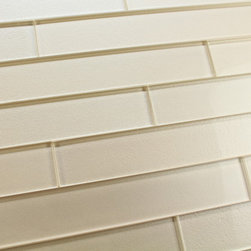 """Elements Sand 2x12 Glass Subway Tiles, Two 2"""" X 12"""" Samples - A warm sandy colored 2x12 glass subway tile with subtle color variation from tile to tile. Arrange them in the pattern of your choice! These one of a kind glass subway tiles have a textured painted backing that ads a touch of character without overpowering a room. Elements is available here on Houzz in 6 great color options in both 4x6 and 2x12 formats."""
