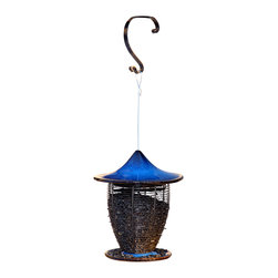 Byer of Maine - Pagoda Bird Feeder Cobalt Blue - The Alcyon Line is made of quality, heavy duty stoneware. Our Alcyon Pagoda Bird Feeders come in two very attractive colors; Cobalt Blue and Sandy Granite. The Alcyon Pagoda Bird Feeders come standard with our newly developed forged steel hanging hook that can be used for both hanging on a tree limb, or permanently mounted on a vertical surface.
