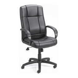 """BOSS Chair - High Back Computer Chair In Black w Lumbar Su - Blame your long hours at work on this ultra-comfortable, high back office chair, upholstered in stylish, black Caressoft material. Its comfortable, adjustable positions, padded arm rests, swivel feature, lumbar support and other ergonomic features make every minute of your working day more productive and perhaps even enjoyable. Beautifully upholstered with ultra soft and durable Caressoft upholstery. Extra lumbar support. Padded armrests covered with Caressoft upholstered. Large 27"""" nylon base for greater stability. Upright locking position. Pneumatic gas lift seat height adjustment. Adjustable tilt tension control. Hooded double wheel casters. Matching guest chair model (B7909). Cushion color: Black. Base/wood: Black. Seat size: 20.5 in. W x 20 in. D. Seat height: 20 in. -23.5 in. H. Arm height: 27 in. -30 in. H. Overall dimension: 27 in. W x 32.5 in. D x 43.5-47 in. H. Weight capacity: 250 lbs"""