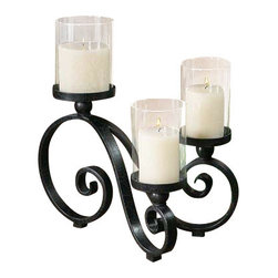 Uttermost Arla Black Crackle Candleholder - Black crackle with gray glaze and clear glass globes. Distressed beige candles included. Black crackle metal stands with gray glaze and clear glass globes. Distressed beige candles included.