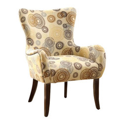 """ACMACM59077 - Gabir Collection Round Gears Pattern Fabric Accent Side Chair - Gabir Collection Round Gears Pattern Fabric Accent Side Chair. Measures 28"""" x 27"""" x 39""""H. Some assembly required."""