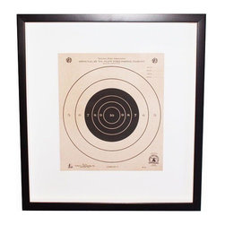Pre-owned Custom Framed Vintage NRA Shooting Target - Custom shadow box framed vintage NRA slow pistol shooting target. Would complete the manliest of man caves!    Custom Frame measures 18 1/4 x 19 3/4 x 1 1/2.